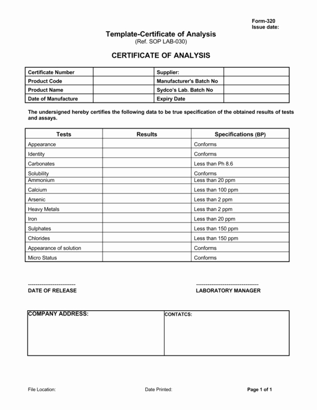 Certificate Of Analysis Template Fresh Certificate Analysis Template
