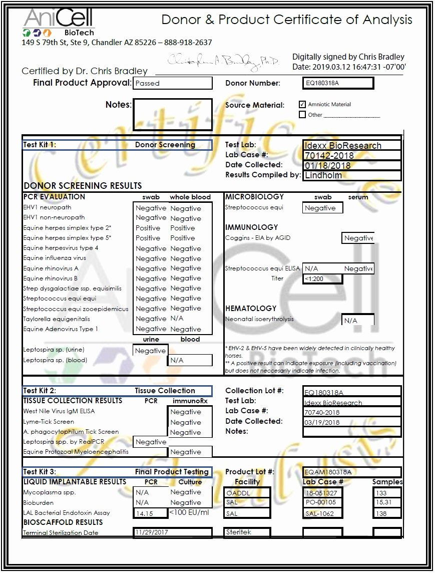 Certificate Of Analysis Template Inspirational Certificate Of Analysis Template Anicell Biotech