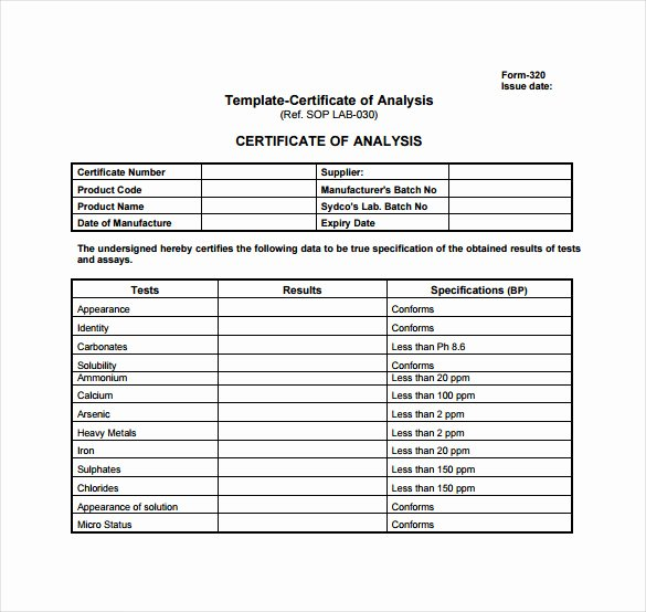 Certificate Of Analysis Template Luxury Certificate Of Analysis Template 10 Free Download