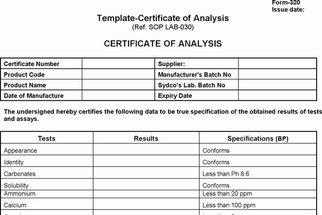 Certificate Of Analysis Template Unique 2 Certificate Of Analysis Free Download