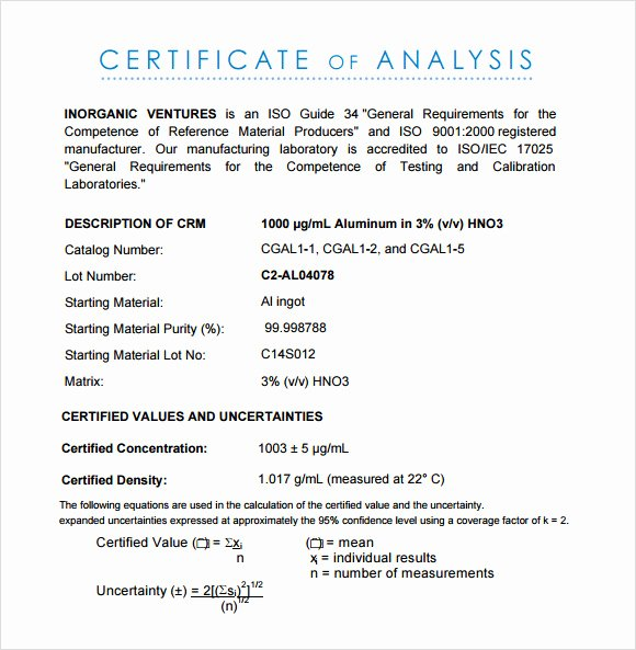 Certificate Of Analysis Template Unique Free 11 Sample Certificate Of Analysis Templates In