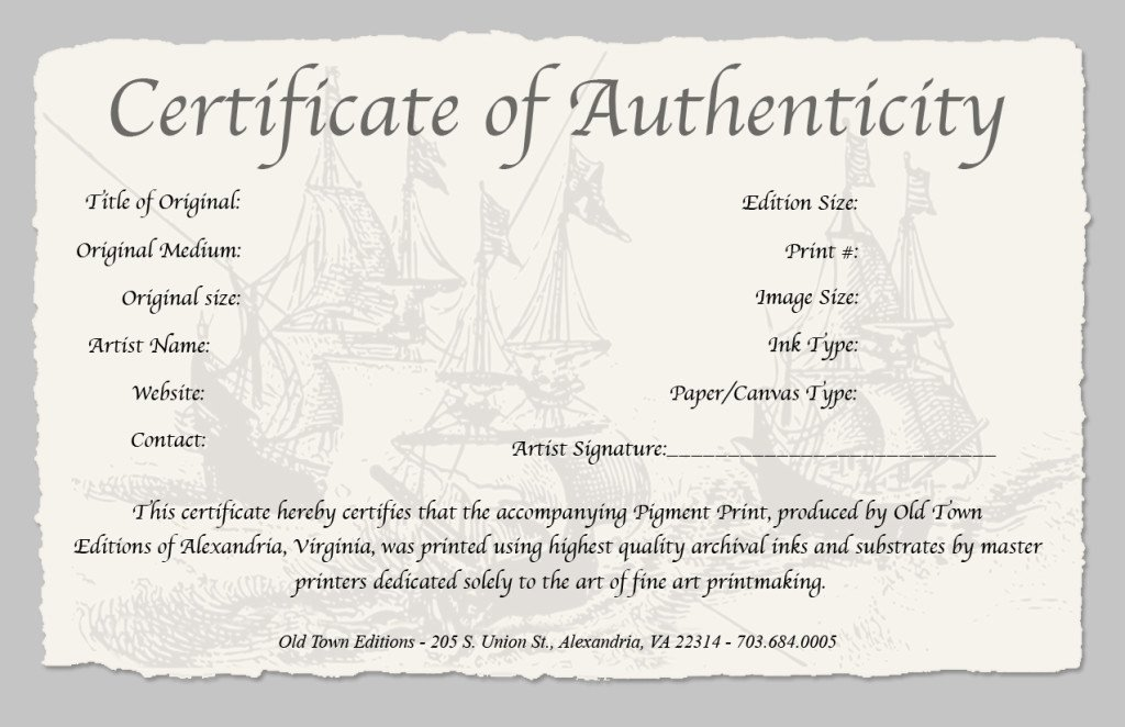 Certificate Of Authenticity Template Free Beautiful Certificate Authenticity Template