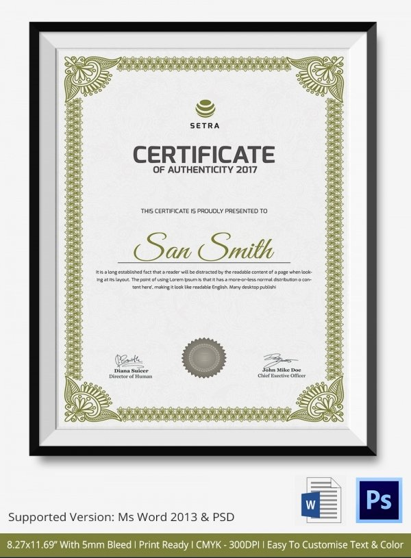 Certificate Of Authenticity Template Free Best Of Certificate Of Authenticity Template 27 Free Word Pdf