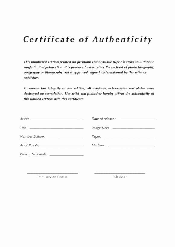 Certificate Of Authenticity Template Free Best Of Certificate Templates