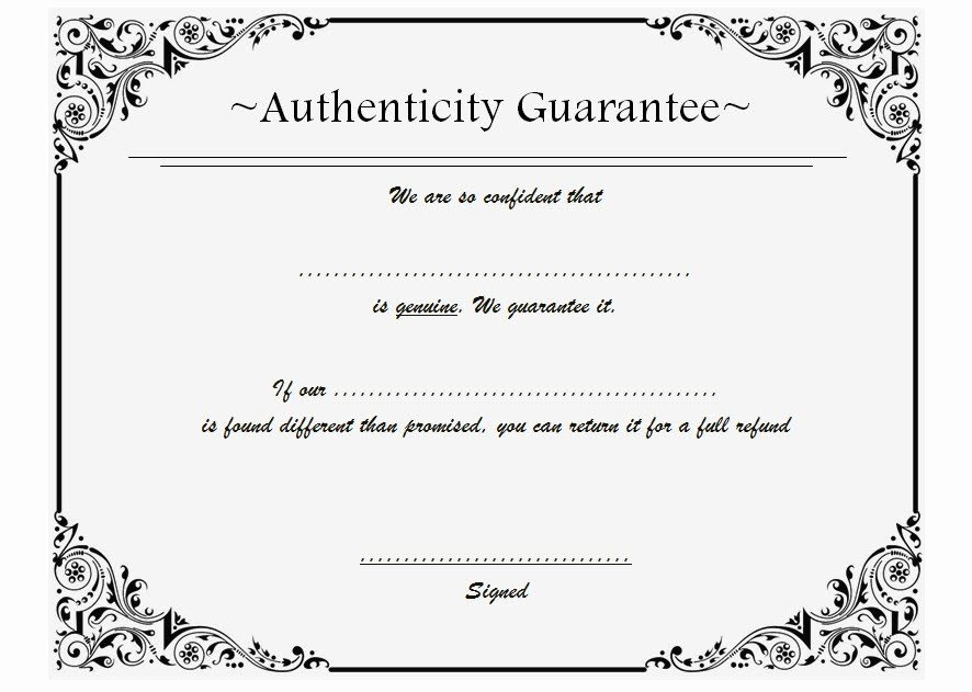 Certificate Of Authenticity Template Free Elegant Certificate Of Authenticity Templates Free [10 Limited