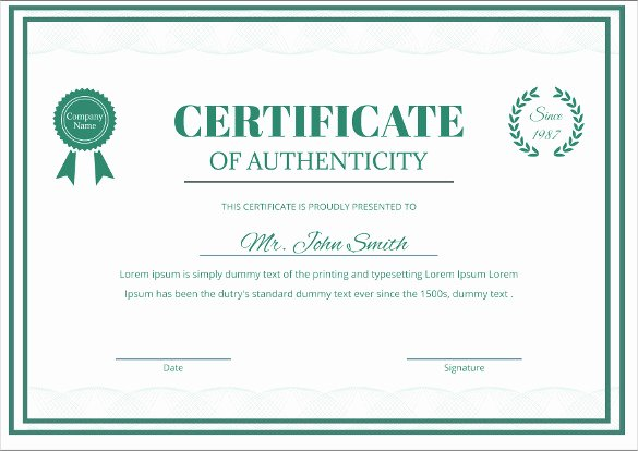 Certificate Of Authenticity Template Free Fresh Certificate Templates