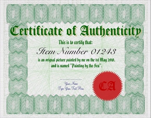 Certificate Of Authenticity Template Free Fresh Sample Certificate Of Authenticity Template 9 Free