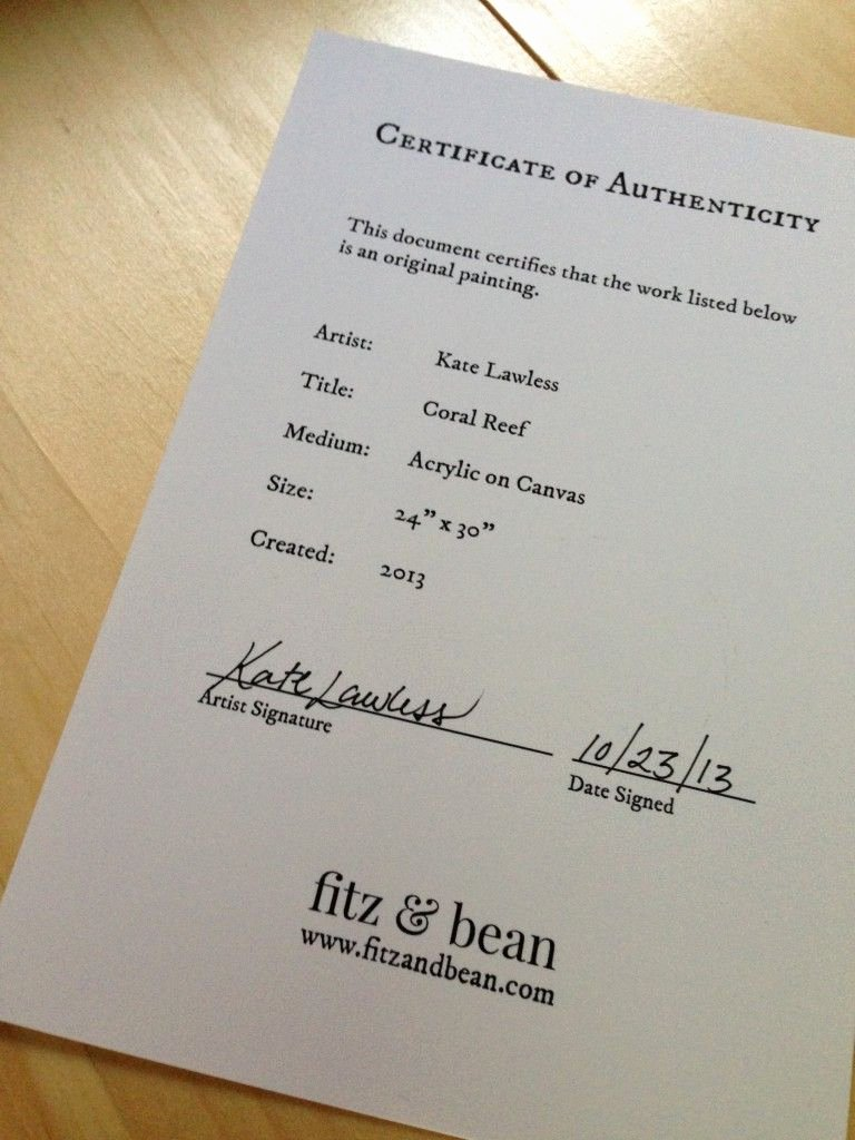 Certificate Of Authenticity Template Free Luxury Certificate Of Authenticity for Artwork