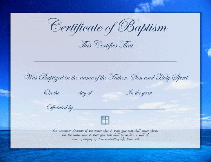 Certificate Of Baptism Template Awesome Baptism Certificate