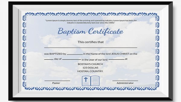 Certificate Of Baptism Template Beautiful 27 Sample Baptism Certificate Templates Free Sample