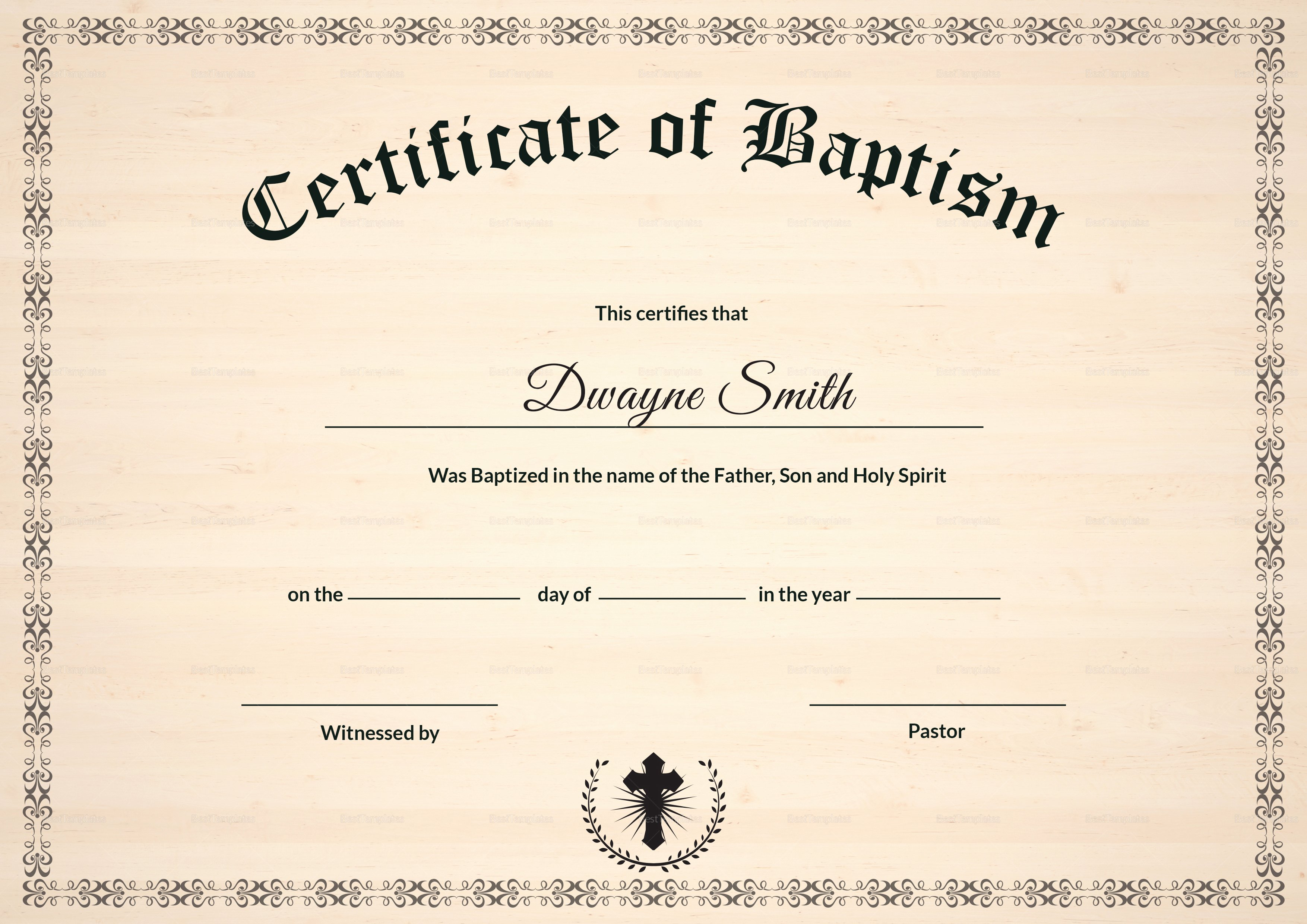 Certificate Of Baptism Template Beautiful Baptism Certificate Design Template In Psd Word