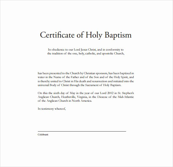 Certificate Of Baptism Template Best Of Baptism Certificate 14 Free Samples Examples format