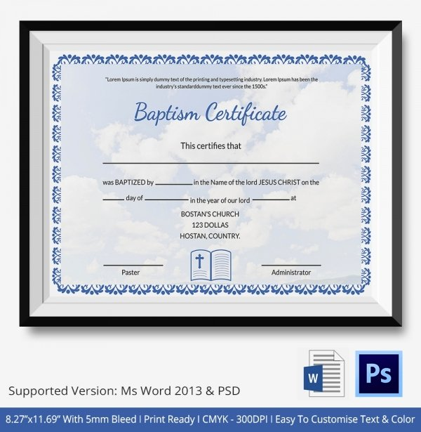 Certificate Of Baptism Template Elegant 18 Sample Baptism Certificate Templates Free Sample