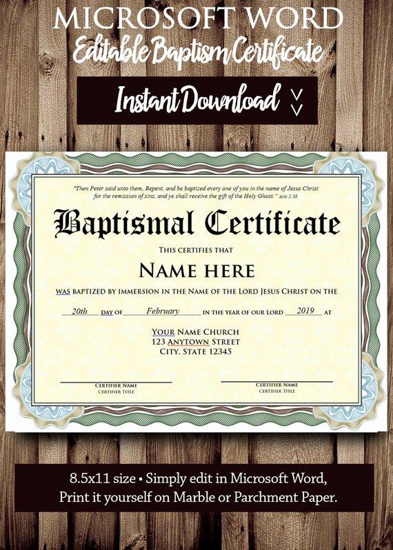 Certificate Of Baptism Template Elegant Baptism Certificate Template Microsoft Word Editable File