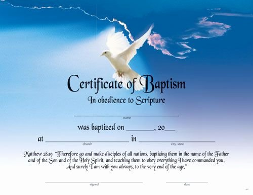 Certificate Of Baptism Template Elegant Printable Fillable Certificate Of Baptism