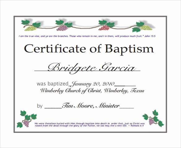 Certificate Of Baptism Template Fresh Sample Baptism Certificate 22 Documents In Pdf Word Psd