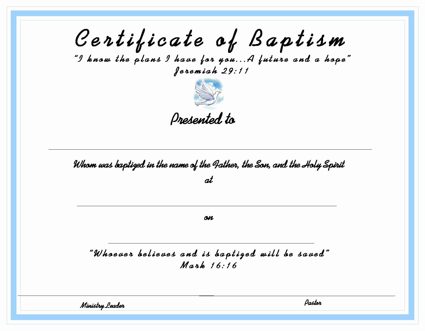 Certificate Of Baptism Template Inspirational Baptism Certificate for Your