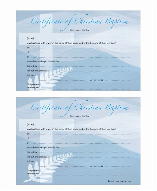 Certificate Of Baptism Template Luxury 18 Sample Baptism Certificate Templates Free Sample