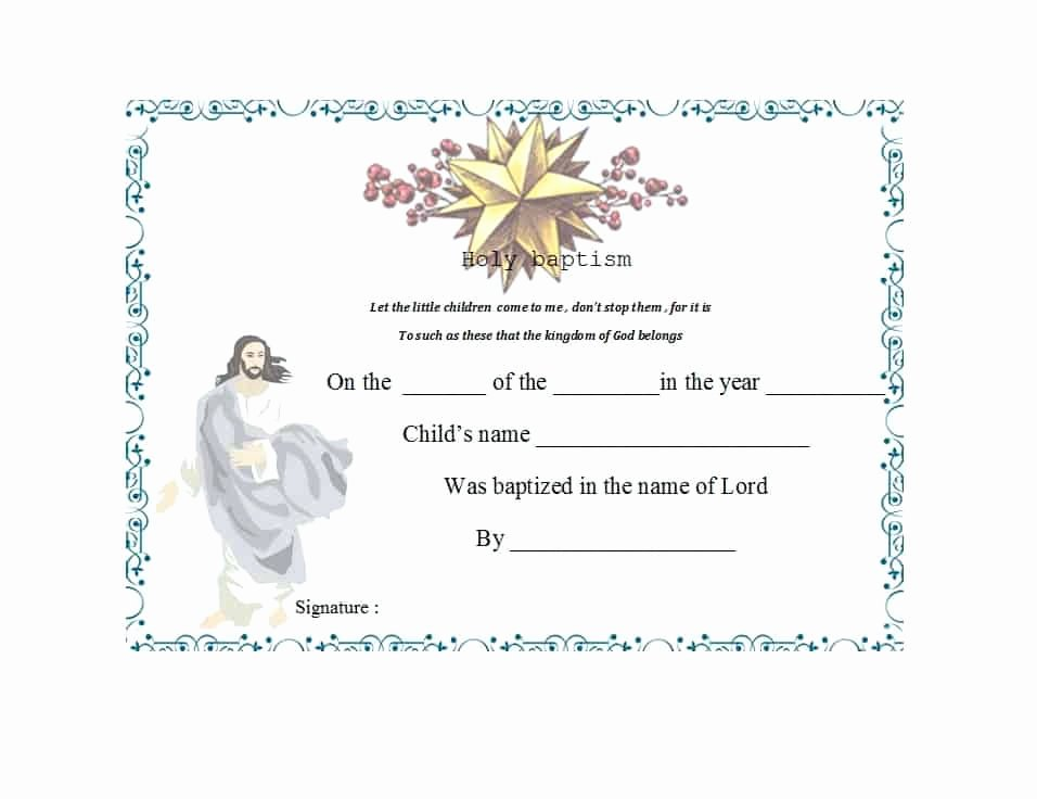 Certificate Of Baptism Template Luxury 47 Baptism Certificate Templates Free Printable Templates