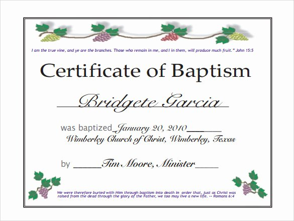 Certificate Of Baptism Template New Baptism Certificate 14 Free Samples Examples format