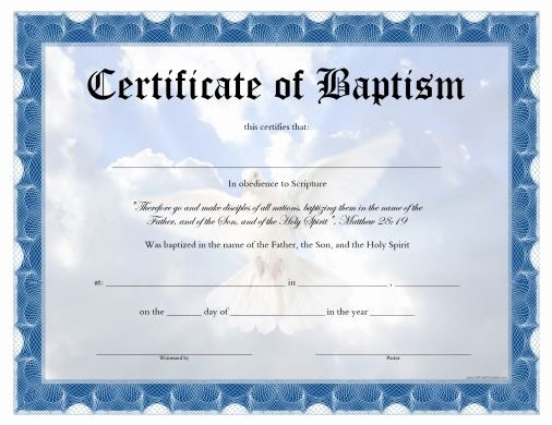 Certificate Of Baptism Template New Free Printable Baptism Certificate
