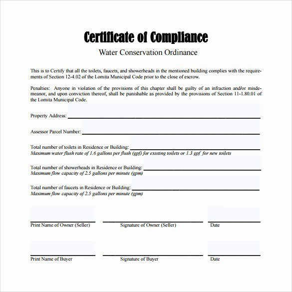 Certificate Of Compliance Template Beautiful Sample Certificate Of Pliance 16 Documents In Pdf
