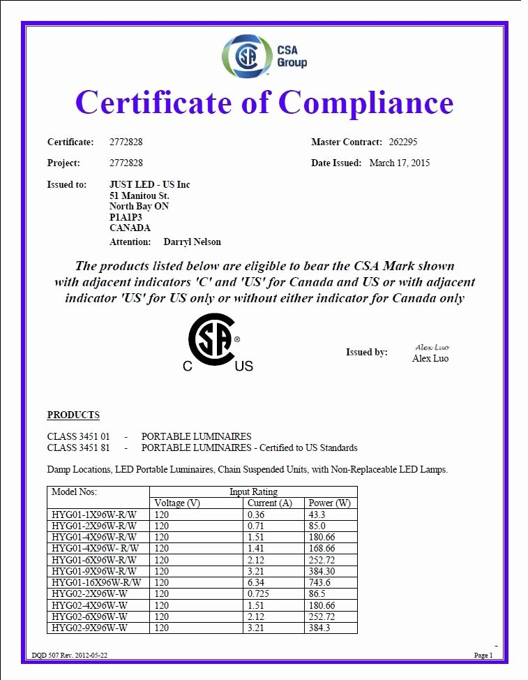 Certificate Of Compliance Template Elegant Certificate Of Pliance Just Led Us