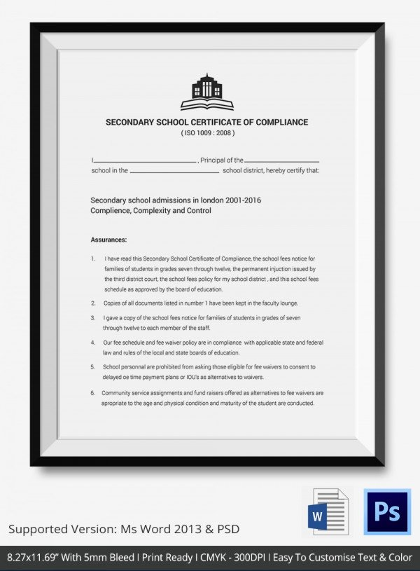 Certificate Of Compliance Template Elegant Certificate Of Pliance Template – 12 Word Pdf Psd