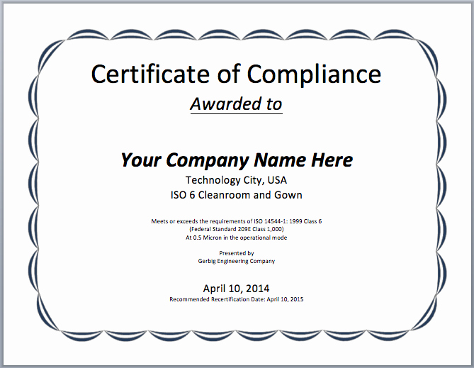 Certificate Of Compliance Template Elegant Pliance Certificate Template Microsoft Word Templates