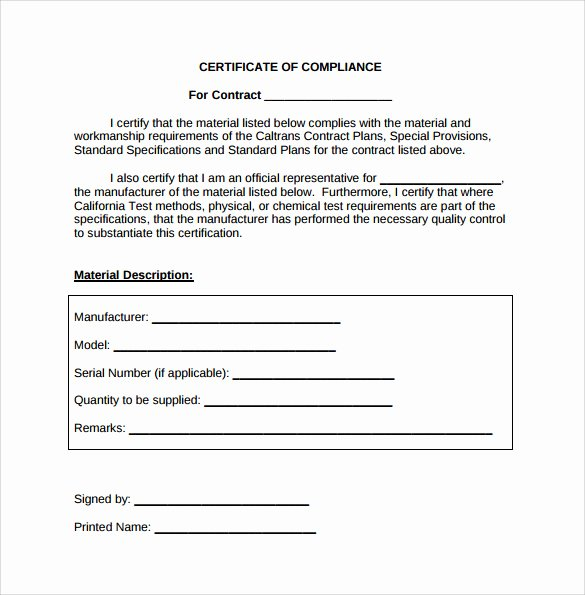 Certificate Of Compliance Template Fresh Sample Certificate Of Pliance 16 Documents In Pdf