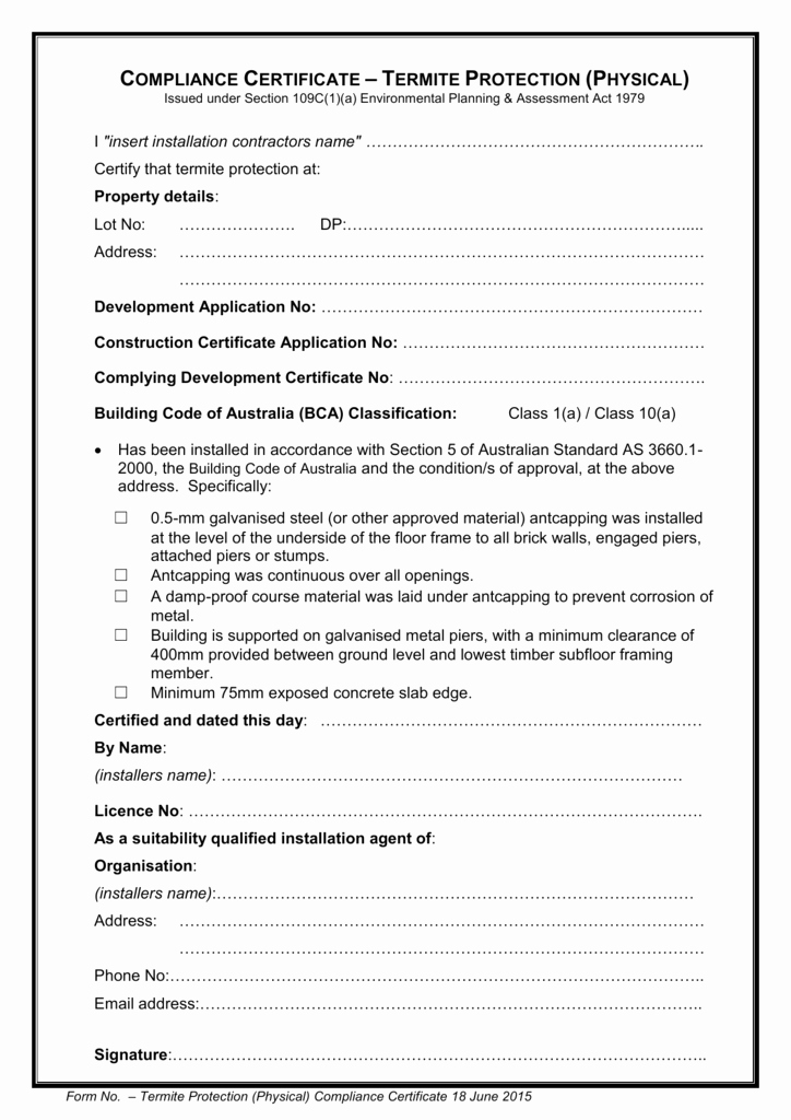 Certificate Of Compliance Template Fresh Termite Protection Physical Pliance Certificate Template