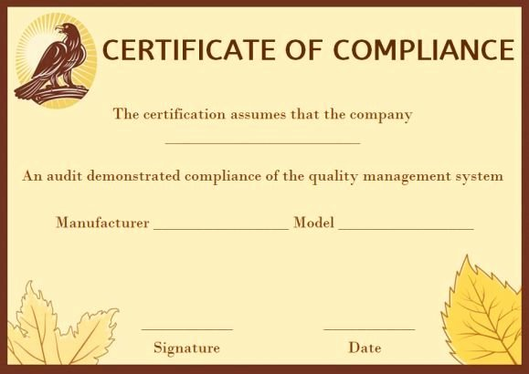 Certificate Of Compliance Template Inspirational Coc Certificate Of Pliance Template