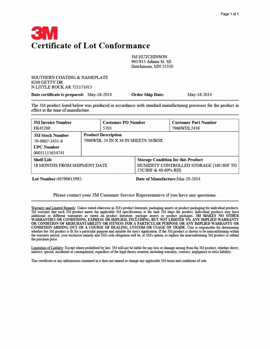 Certificate Of Compliance Template New Certificate Of Conformance S Sample Template Pdf