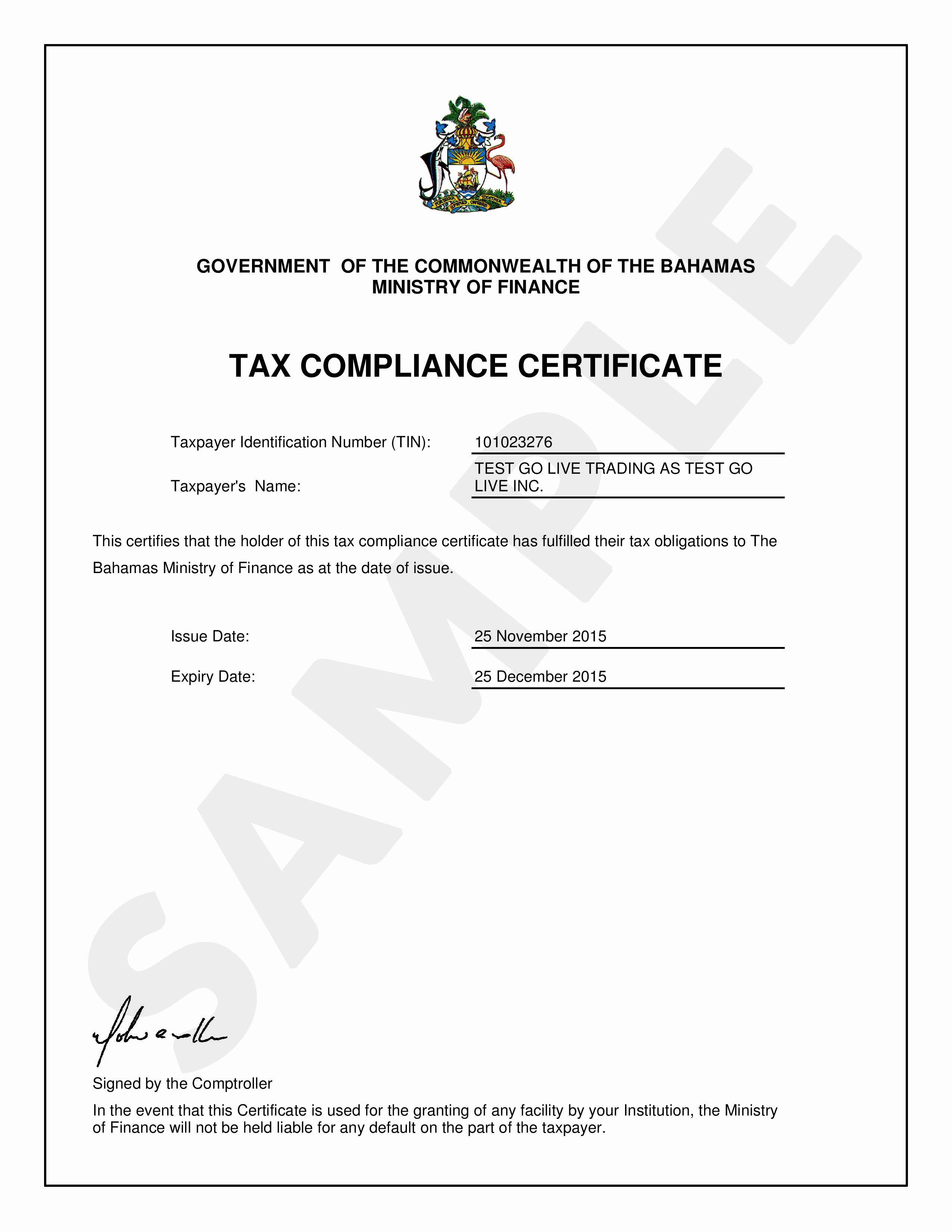Certificate Of Compliance Template New Tax Pliance Certificate Department Of Inland Revenue