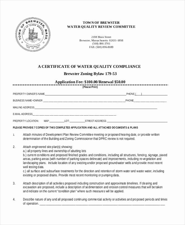 Certificate Of Compliance Template Unique Free 41 Certificate form In Templates Pdf