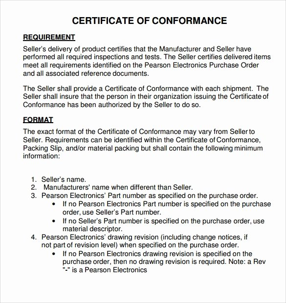 Certificate Of Conformance Template Awesome Sample Certificate Of Conformance 23 Documents In Pdf