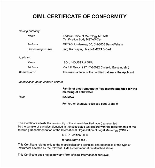 Certificate Of Conformance Template Awesome Sample Conformity Certificate Template 15 Documents In