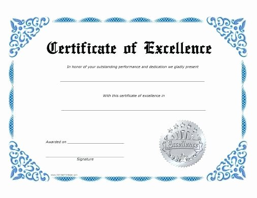 Certificate Of Excellence Template Awesome Free Blank Certificate Excellence Template