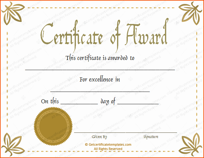 Certificate Of Excellence Template Beautiful 8 Awards Certificate Template Bookletemplate