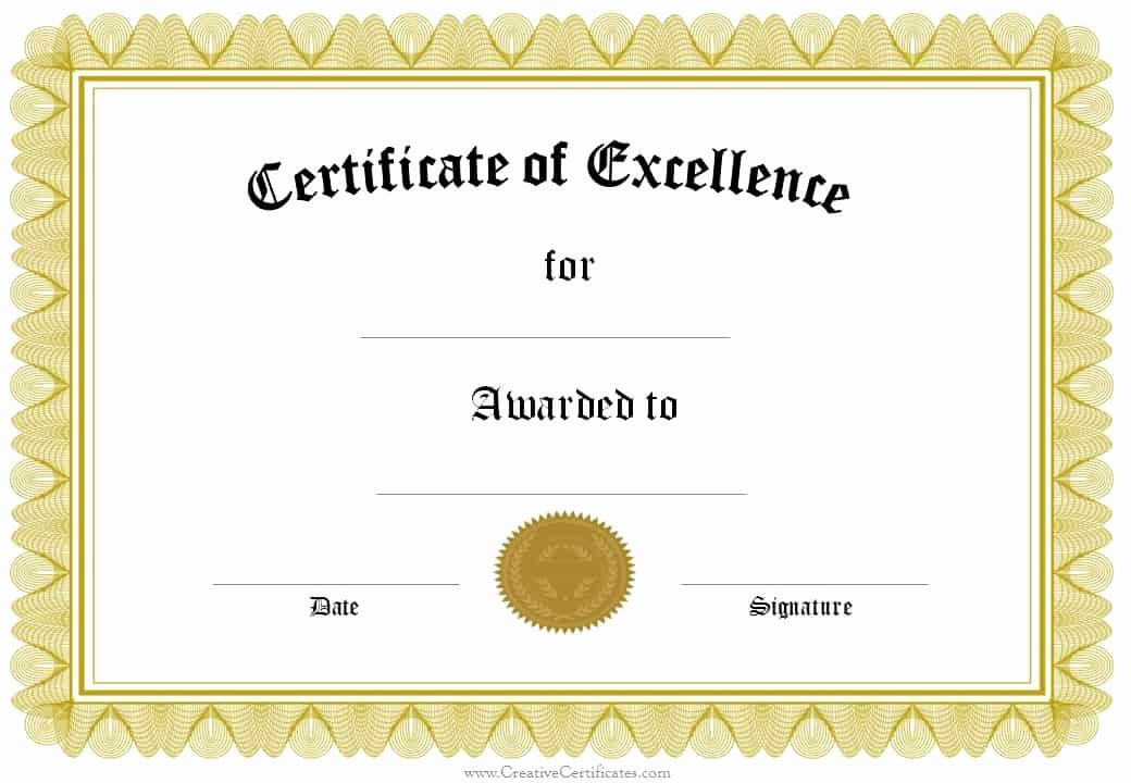 Certificate Of Excellence Template Beautiful formal Award Certificate Templates