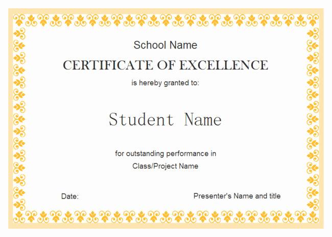 Certificate Of Excellence Template Beautiful Perfect Example Of Editable Certificate Of Excellence