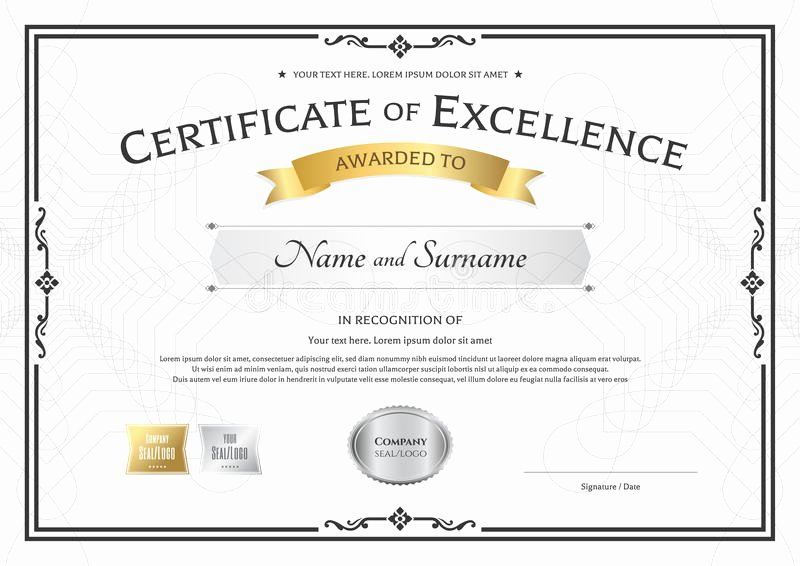 Certificate Of Excellence Template Best Of Certificate Excellence Template with Gold Award Ribbon