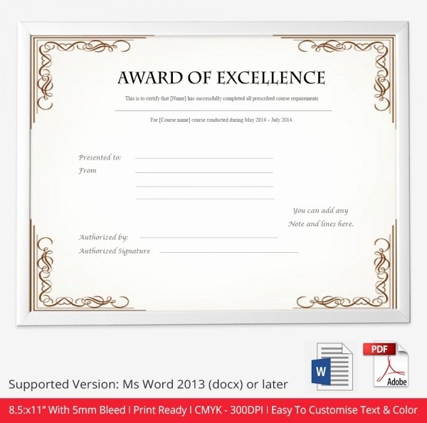 Certificate Of Excellence Template Best Of Certificate Template 50 Free Printable Word Excel Pdf