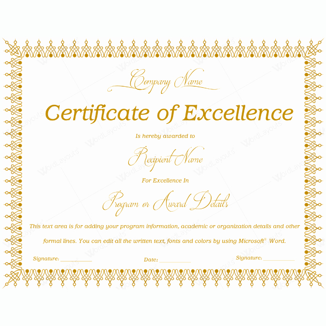Certificate Of Excellence Template Elegant 89 Elegant Award Certificates for Business and School events