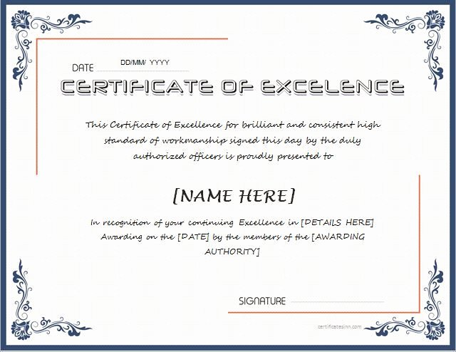 Certificate Of Excellence Template Elegant Certificate Of Excellence for Ms Word Download at