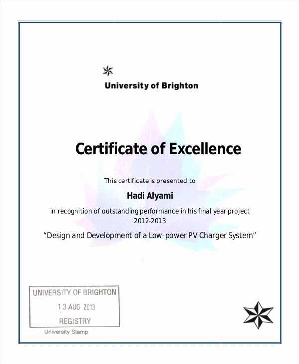 Certificate Of Excellence Template Fresh Excellence Certificate Template 24 Word Pdf Psd