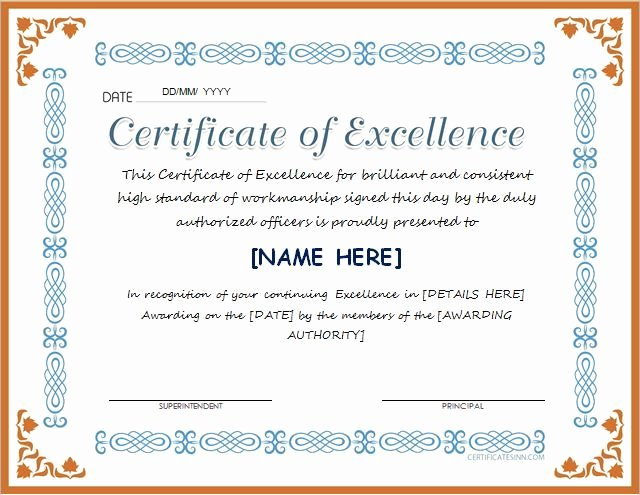 Certificate Of Excellence Template Fresh Pin by Alizbath Adam On Certificates