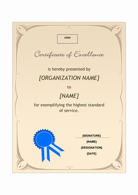 Certificate Of Excellence Template Fresh Recognition Award Template Free Template Downloads