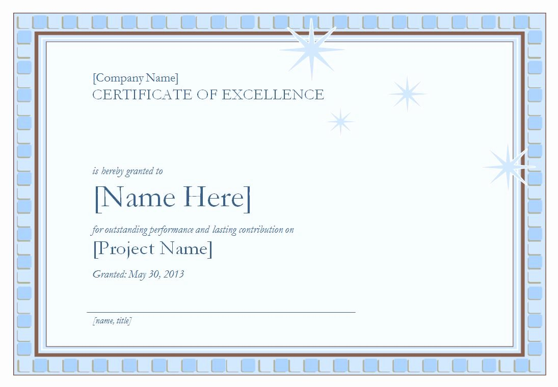 Certificate Of Excellence Template Inspirational Certificate Of Excellence Template