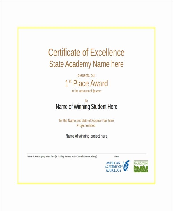 Certificate Of Excellence Template Lovely Excellence Certificate Template 24 Word Pdf Psd